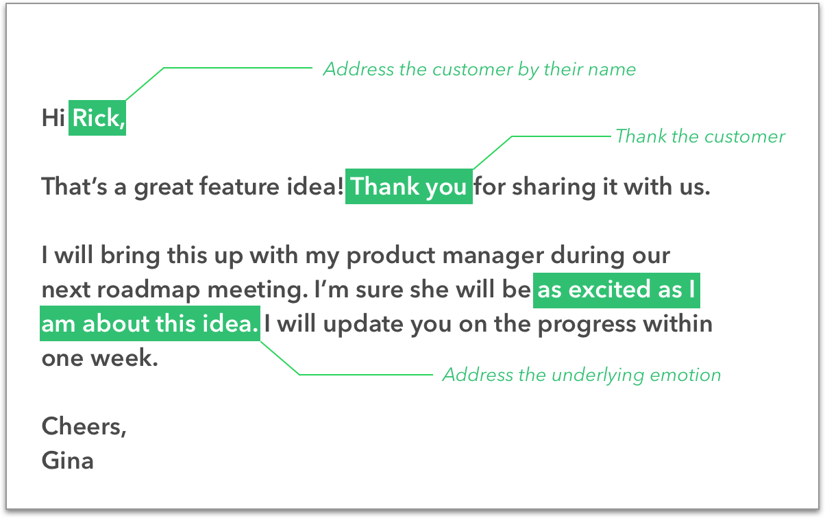 Good customer support email template