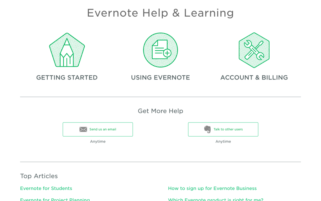 Kbase Freshdesk-Evernote Help & Learning