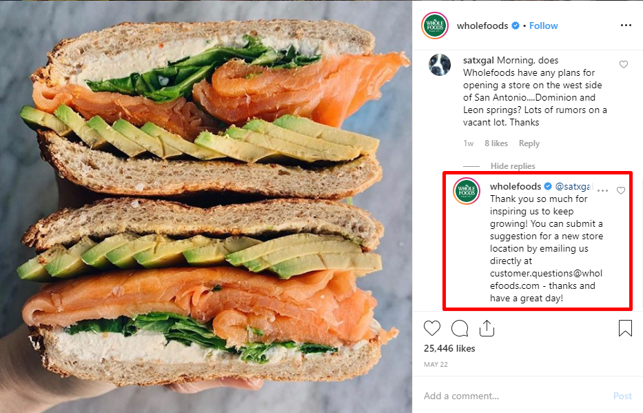Whole Foods Instagram Support