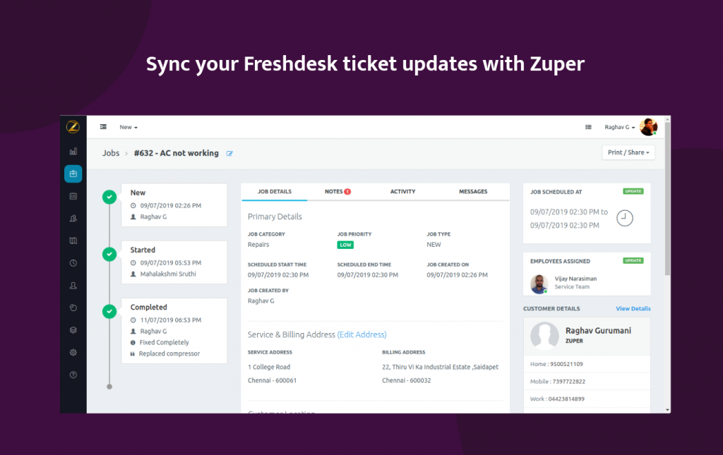 Zuper-Freshdesk-integration