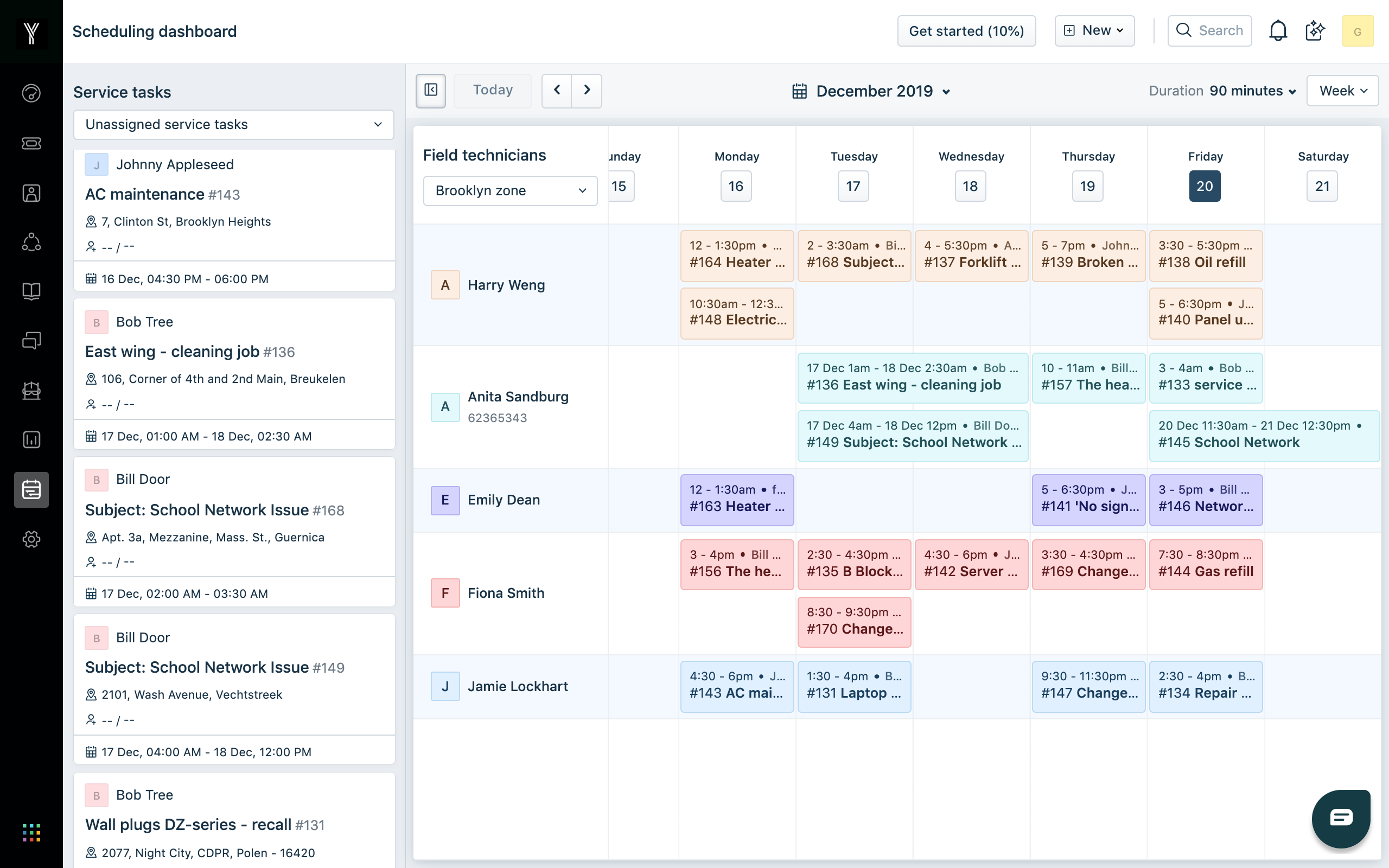 View your team's weekly field service schedule and balance workload better across teams