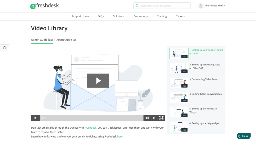 Freshdesk video library