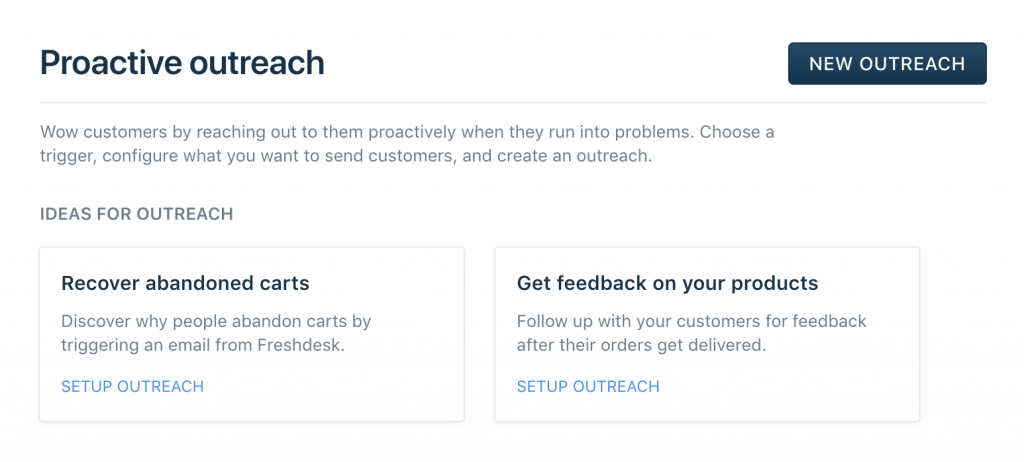 Proactive outreach in Freshdesk