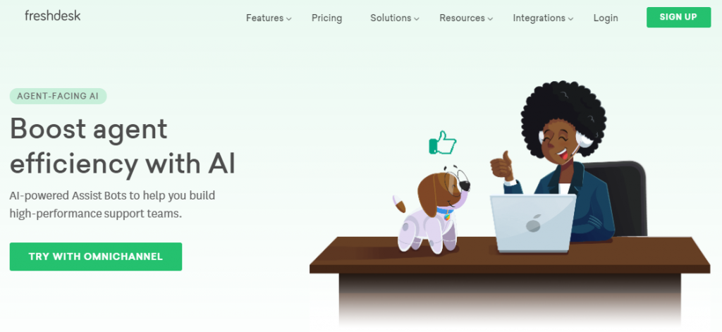 Screenshot of an agent-facing AI by Freshdesk