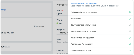 Screenshot of email notifications within Freshdesk