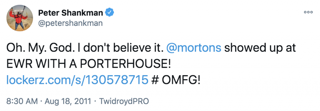 Screenshot of the tweet from Peter Shankman after receiving a steak from Morton's The Steakhouse
