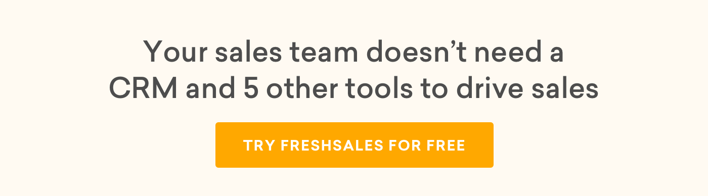 Clickable banner linking back to Freshsales signup page