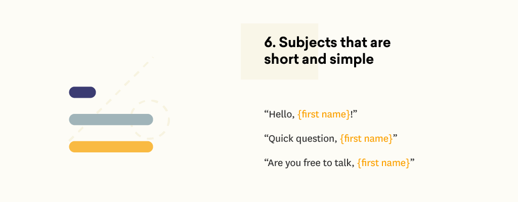 Email subject lines that are short and simple