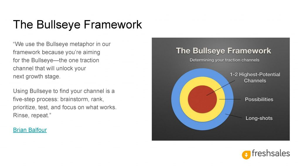 Growth channels to acquire SaaS customers - The Bullseye Framework