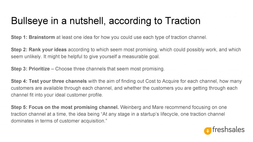 Growth channels to acquire SaaS customers - Bullseye Framework