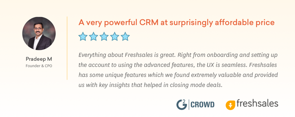 An Affordable CRM software - Freshsales