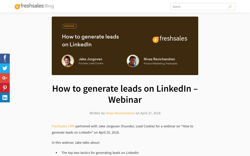 Webinar about How to generate online leads transcript as a blog post