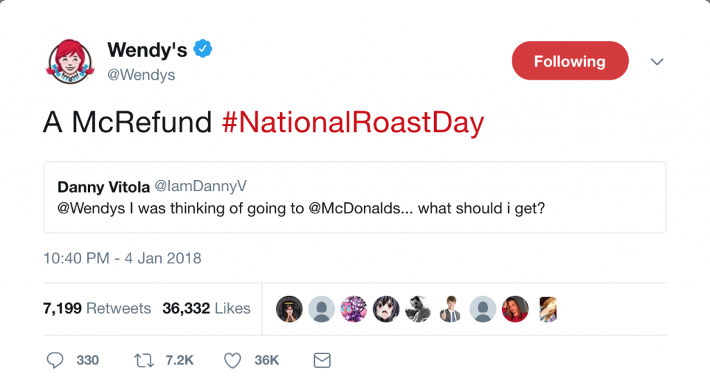 Tweet by Wendy's targeting McDonald's