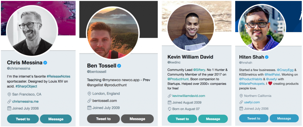 Product Hunt Top Hunters Kevin William David Chris Messina Ben Tossell Hiten Shah
