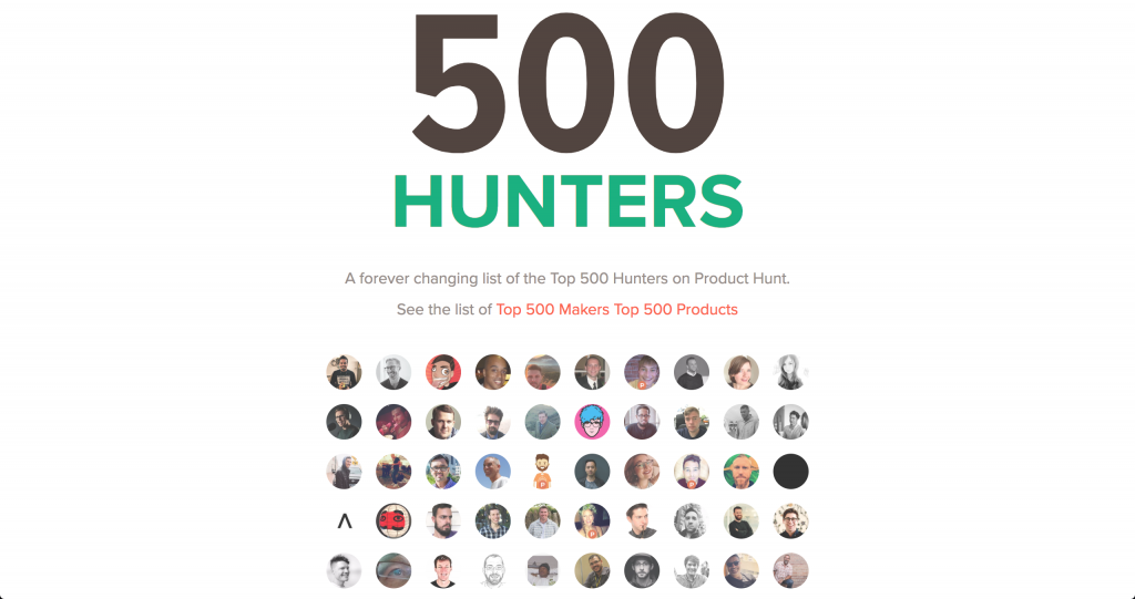 Product Hunt Top Hunters 500 Hunters