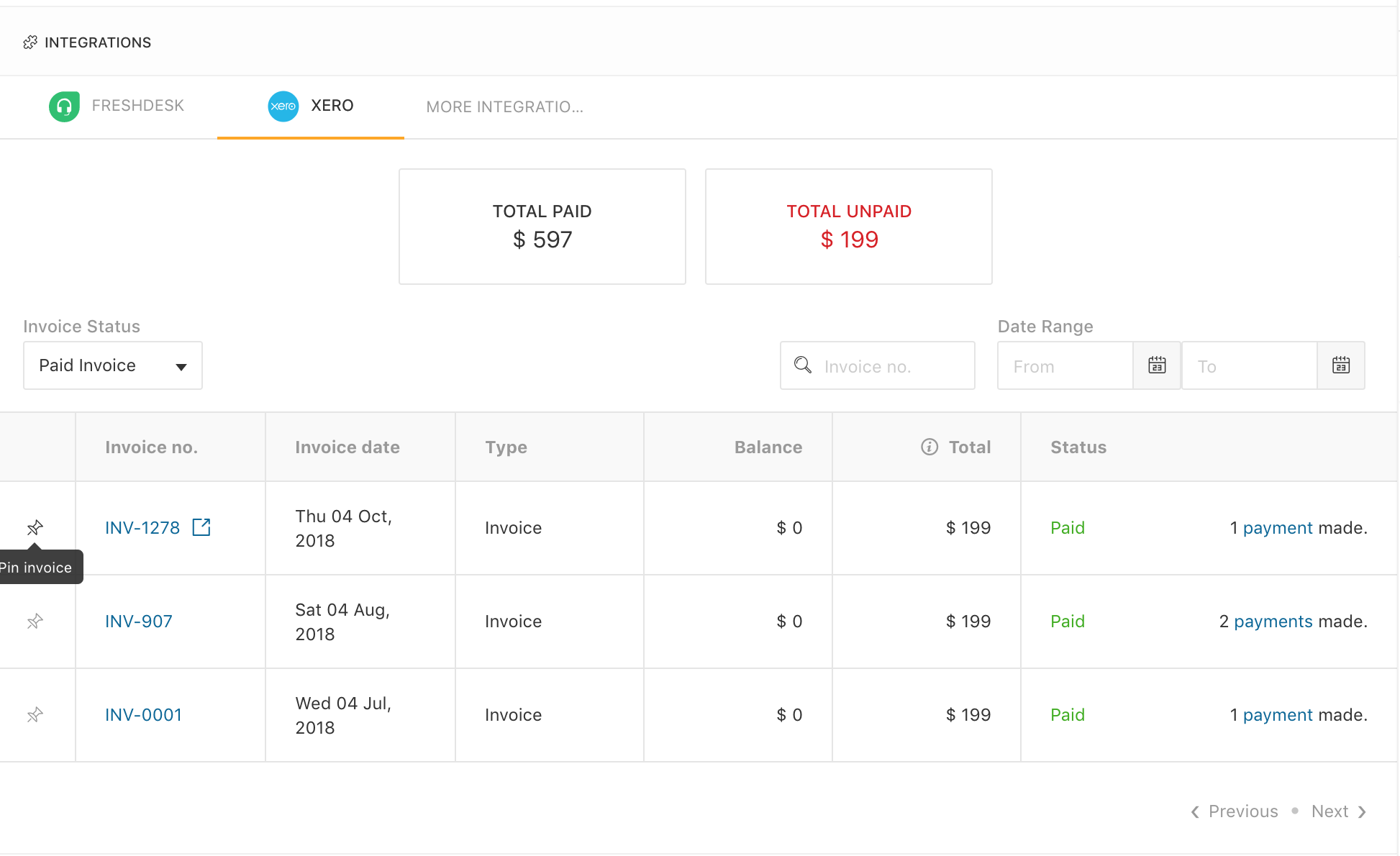 xero integration pin invoices