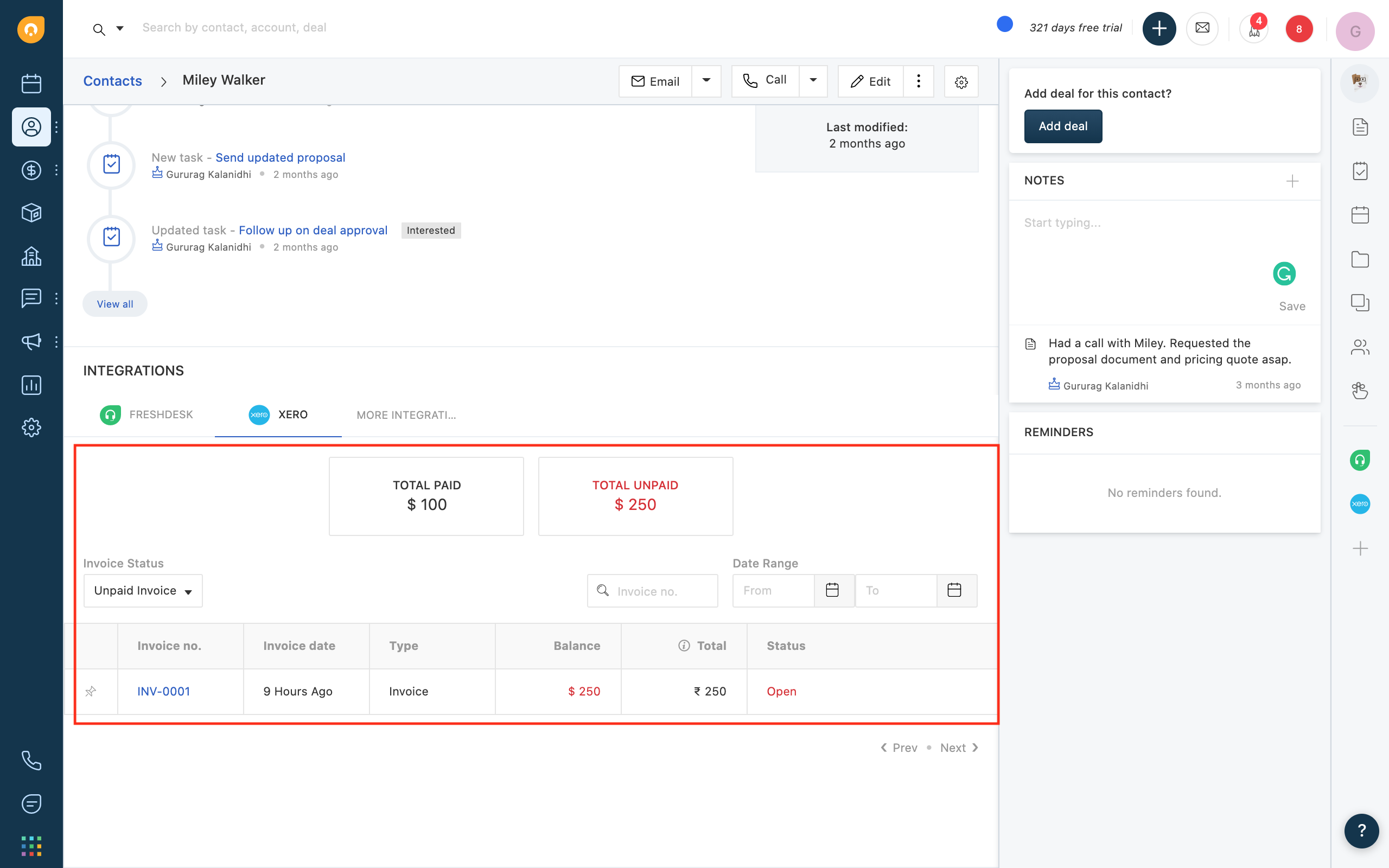accessing xero invoices in Freshworks CRM