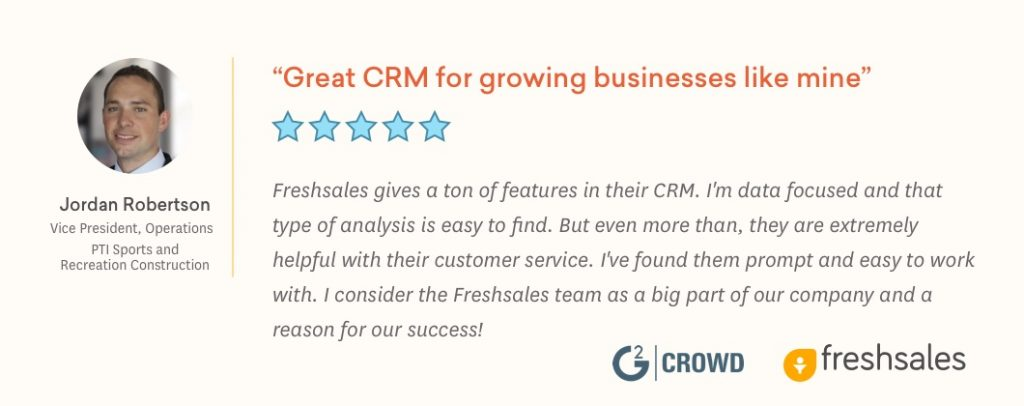 Freshsales Recognized in G2 Crowd's Best Software Awards 2019 Jordan Testimonial