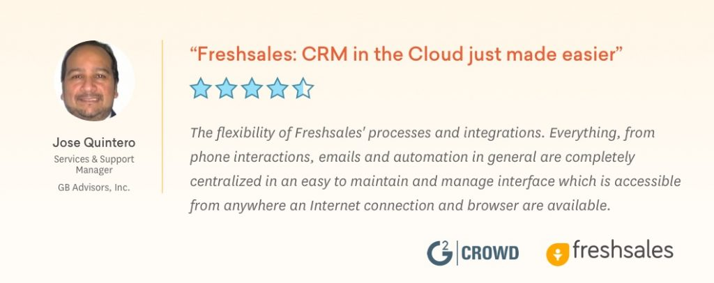 Freshsales Recognized in G2 Crowd's Best Software Awards 2019 Jose Testimonial