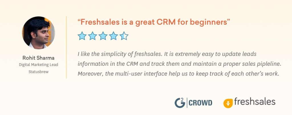 Freshsales Recognized in G2 Crowd's Best Software Awards 2019 Rohit Testimonial