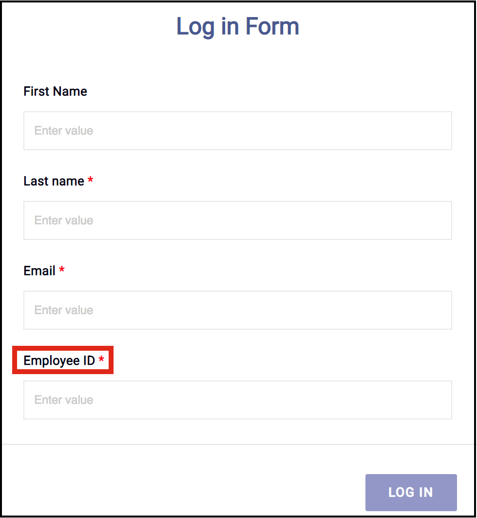 Log in form with custom field