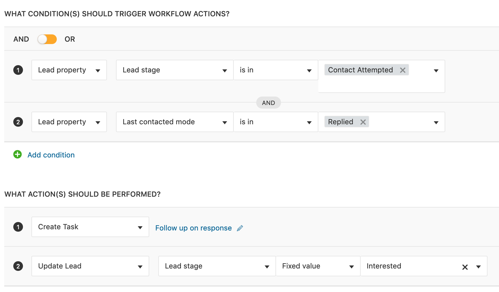 Updating lead fields with workflows