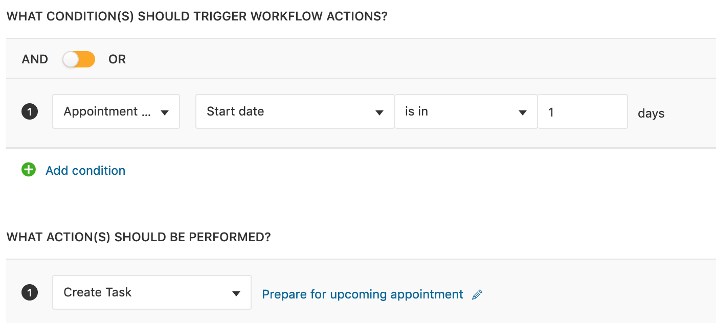 Reminders to prepare for appointments using workflows