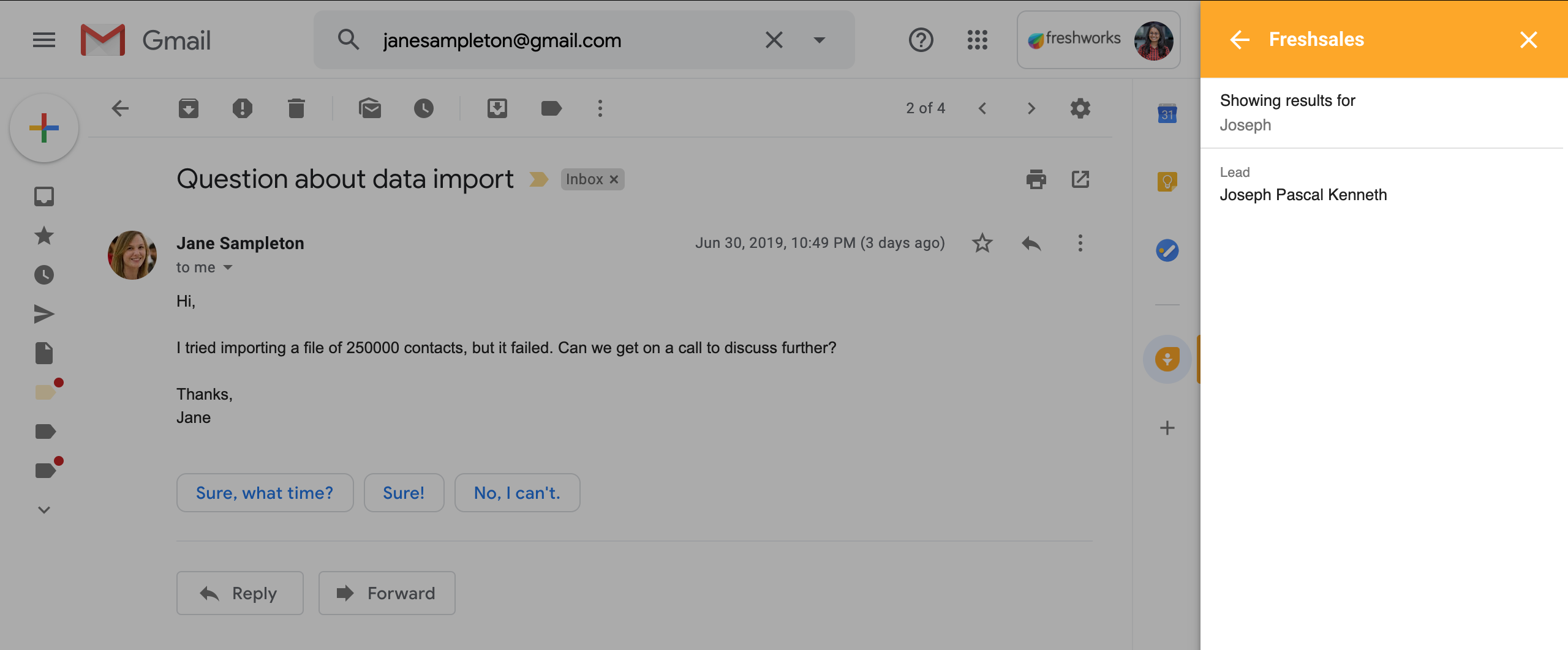 Gmail Add-on search results