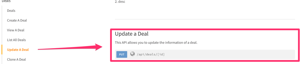 Update a deal using Freshsales API documentation