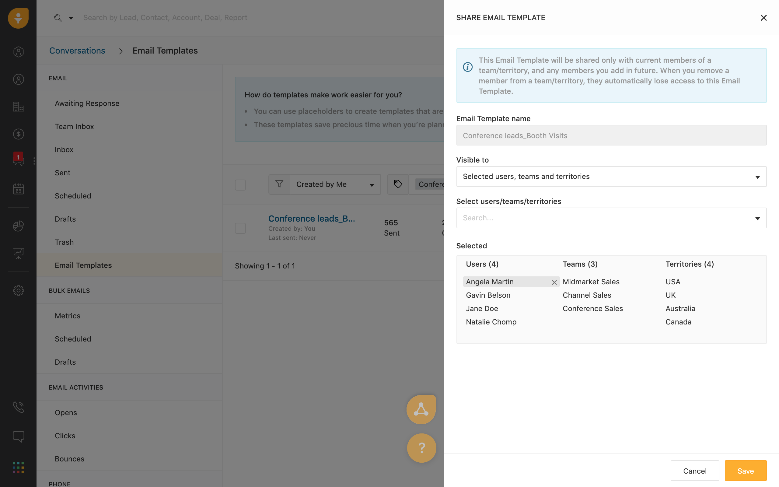 Sharing email templates in Freshsales