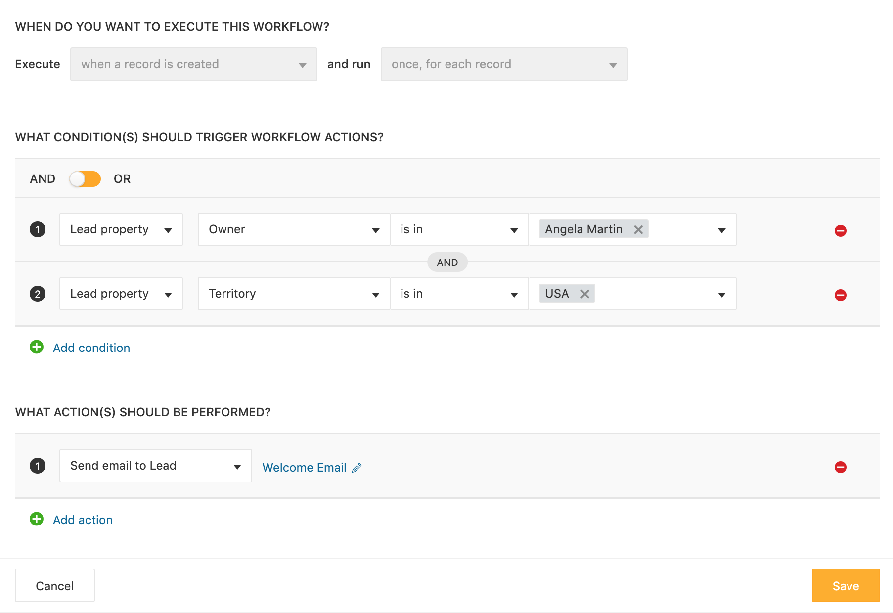 Workflows on Freshsales