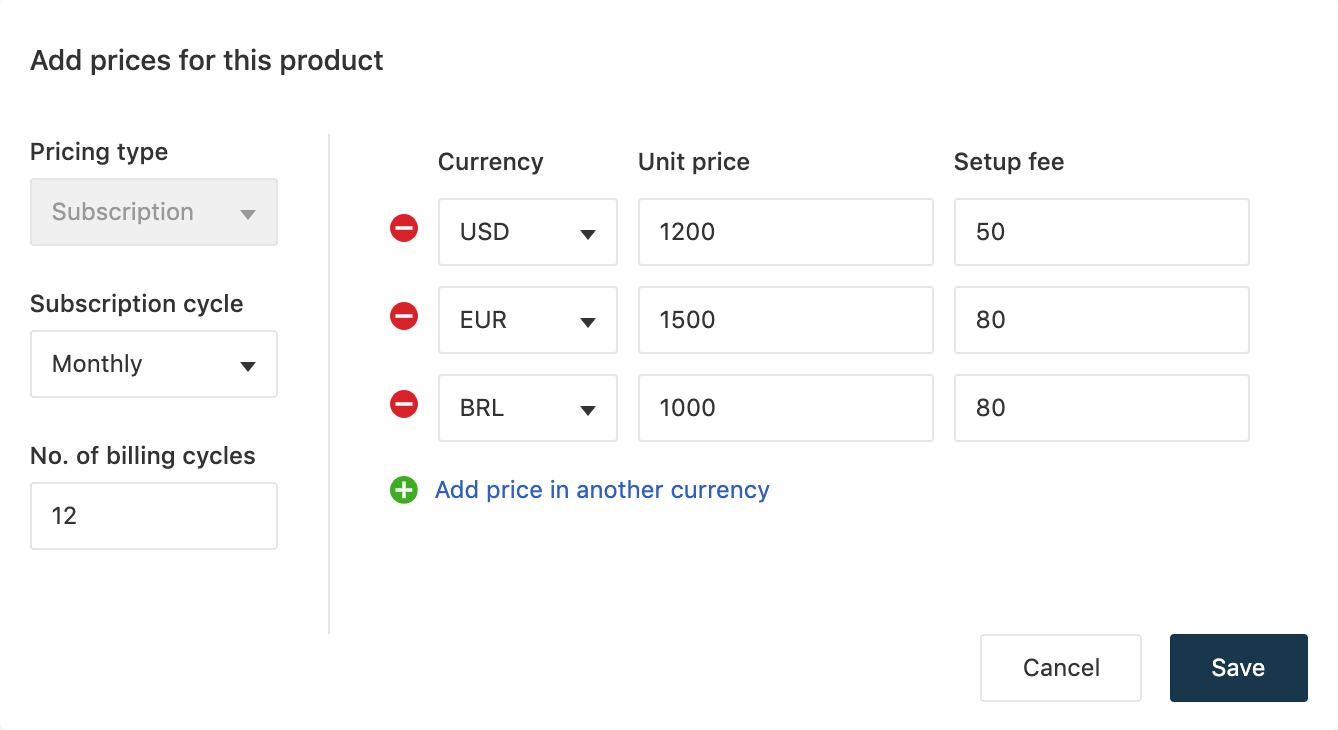 Draft pricing structure