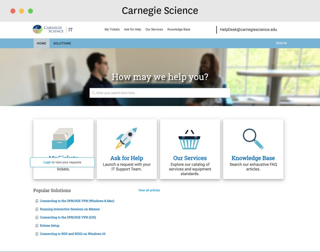 Service catalog examples - carnegie science