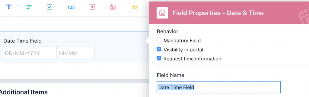 date with time field