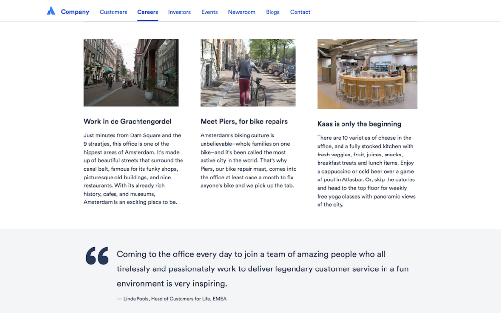 Atlassian has a global perks section to showcase the similarities between the different offices