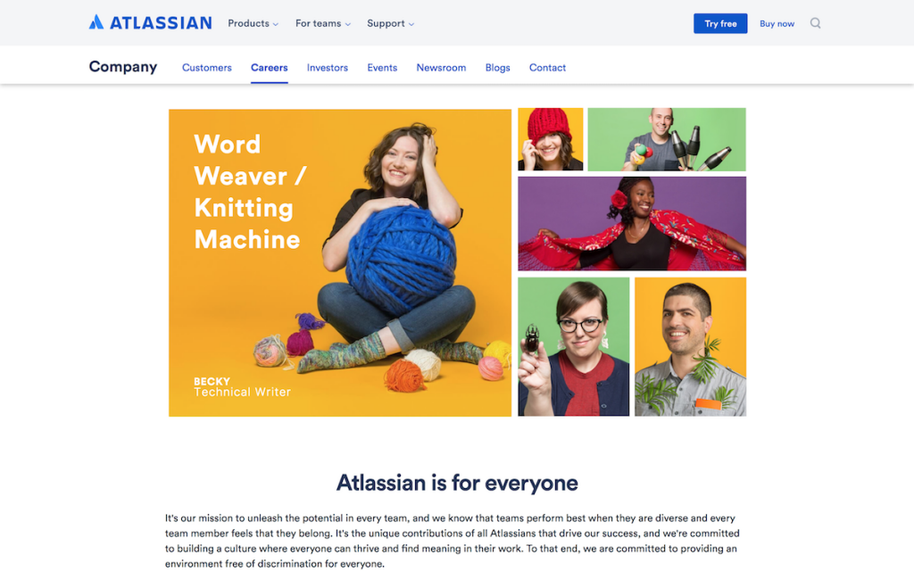 Atlassian describes hobbies of employees in their first fold