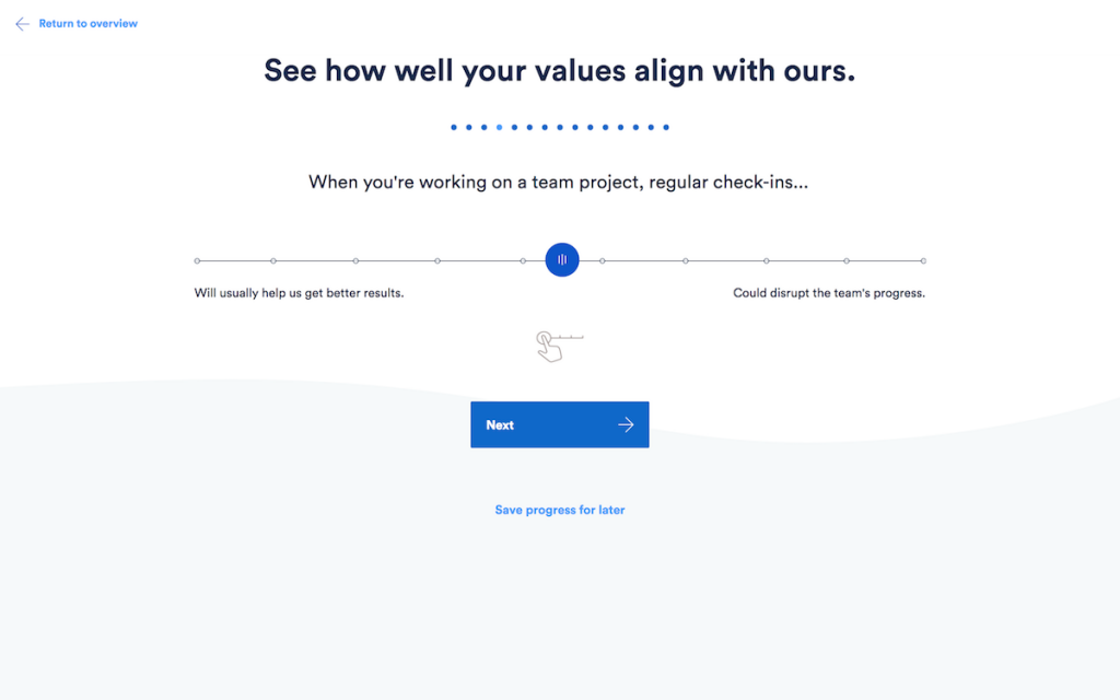 Atlassian created a value-fit quiz to figure out how well their values align with a candidate's