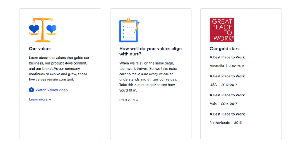 Atlassian links to their values explanation, a value fit quiz and displays their awards on their jobs page