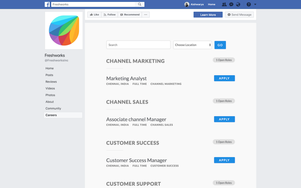 Freshworks uses Facebook to source candidates through a custom hiring tab