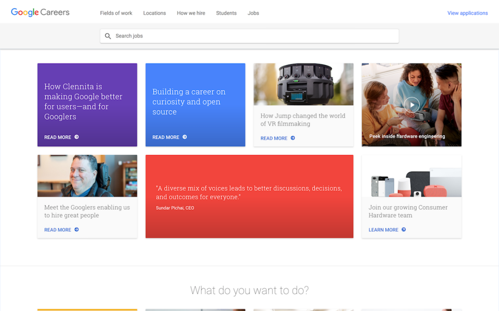 Google links candidates to articles describing how different teams work at Google
