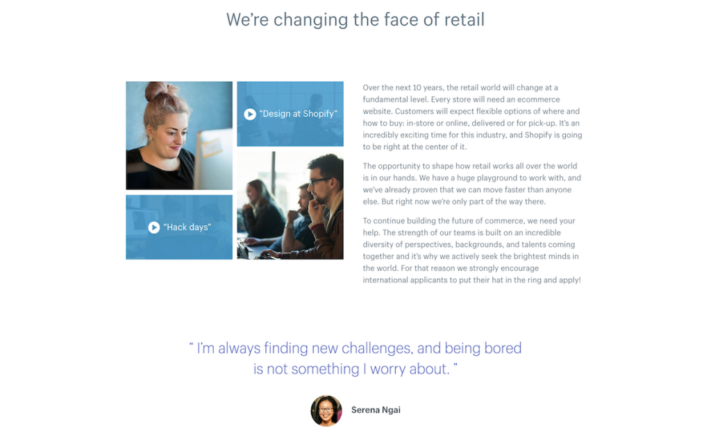 Shopify uses employee testimonials to show, not tell