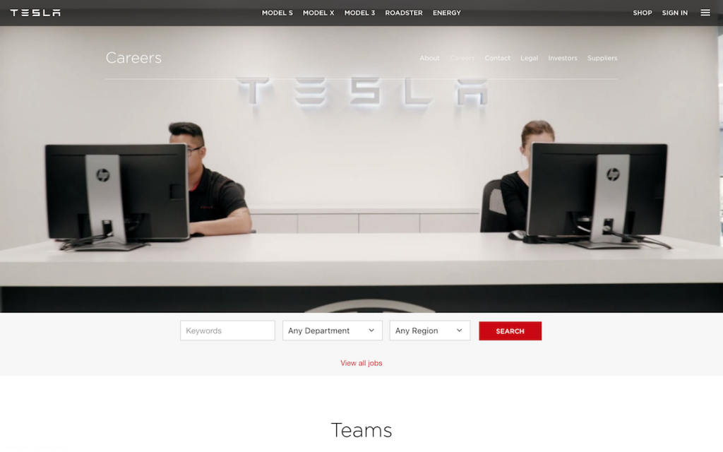 The first fold of Tesla's jobs page has a short looping video
