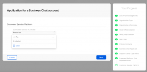 Application for a Business chat account