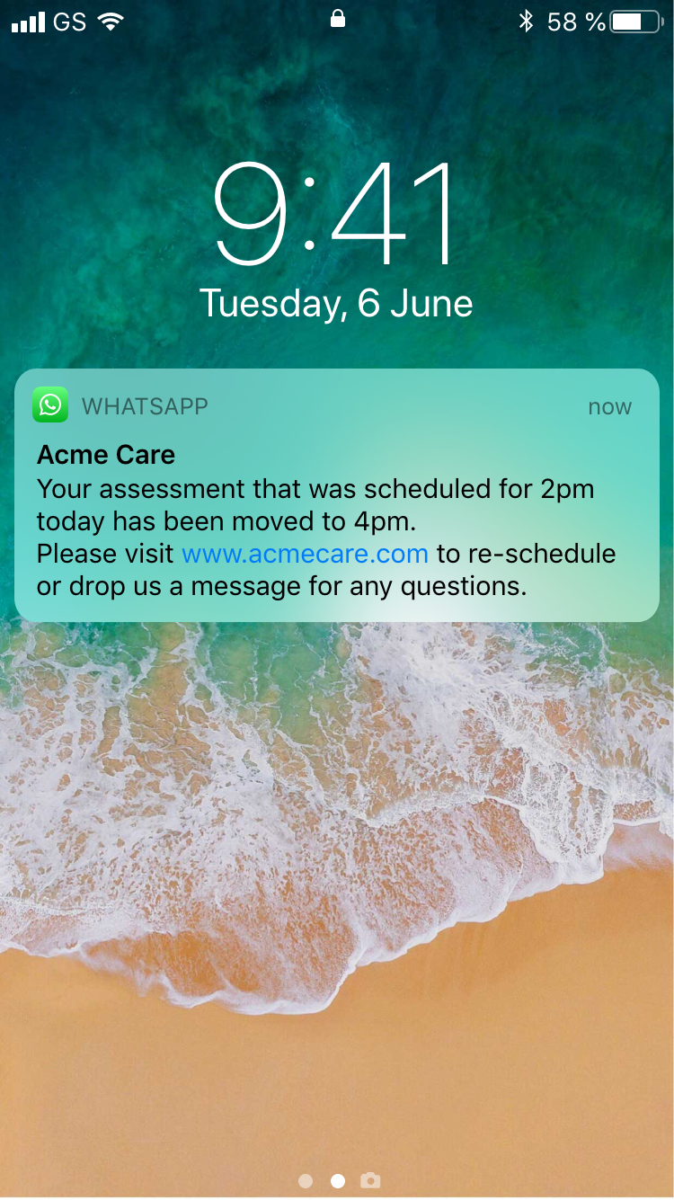 On screen notifications using WhatsApp