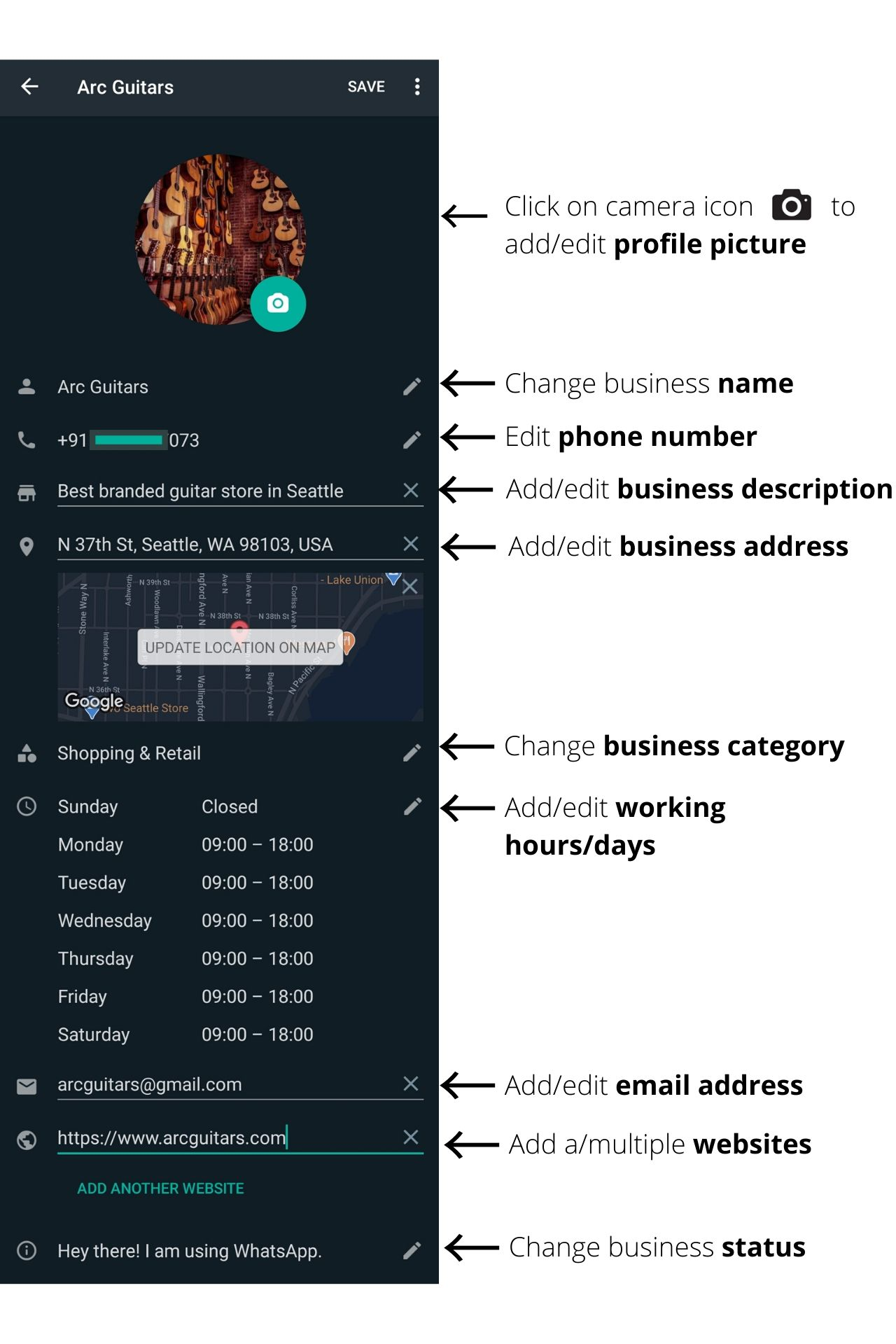 WhatsApp Business profile sections explained