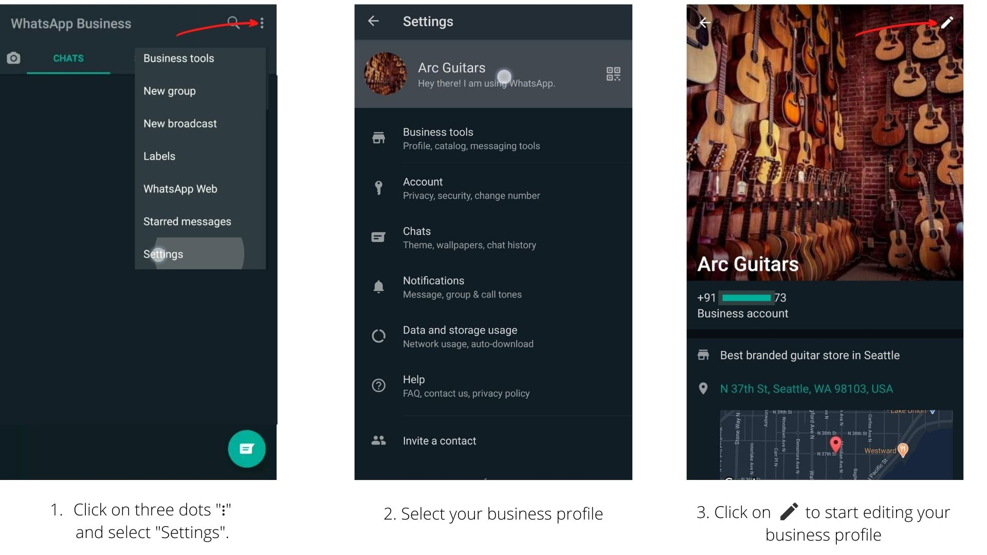 Whatsapp business setting menu