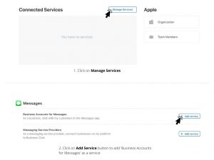 Add Messages service while registering for Apple Business Chat