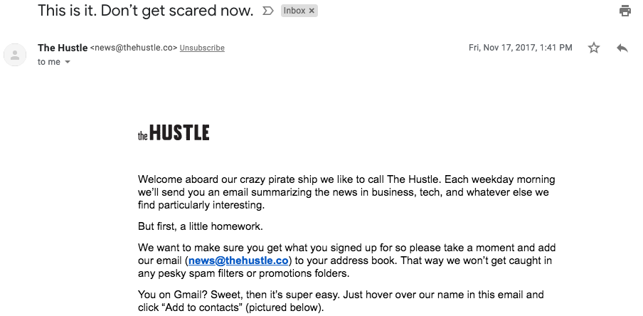Welcome email from Hustle