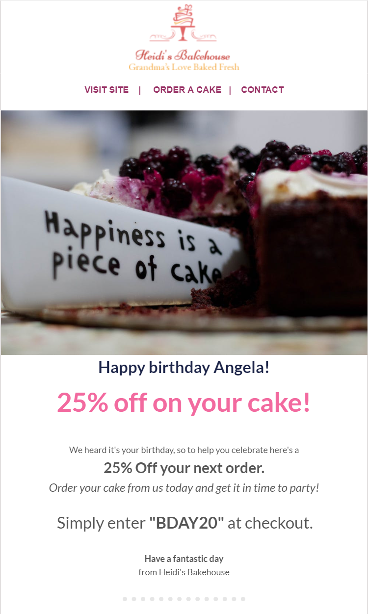 A personalized email sent to a customer on their birthday