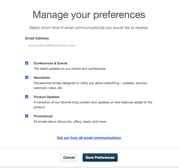 Email subscription preference centre